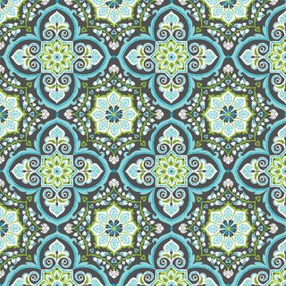 TURKISH DELIGHT - Grandeur Tile Blue - blend fabrics