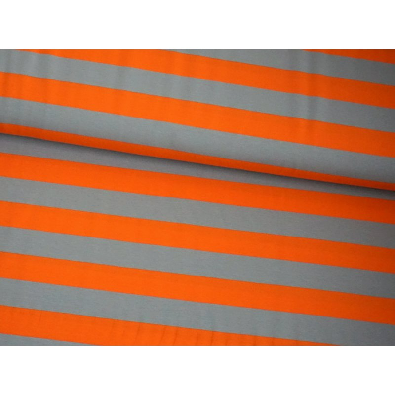 Jersey - ISA Blockstreifen 3cm - ORANGE / GRAU