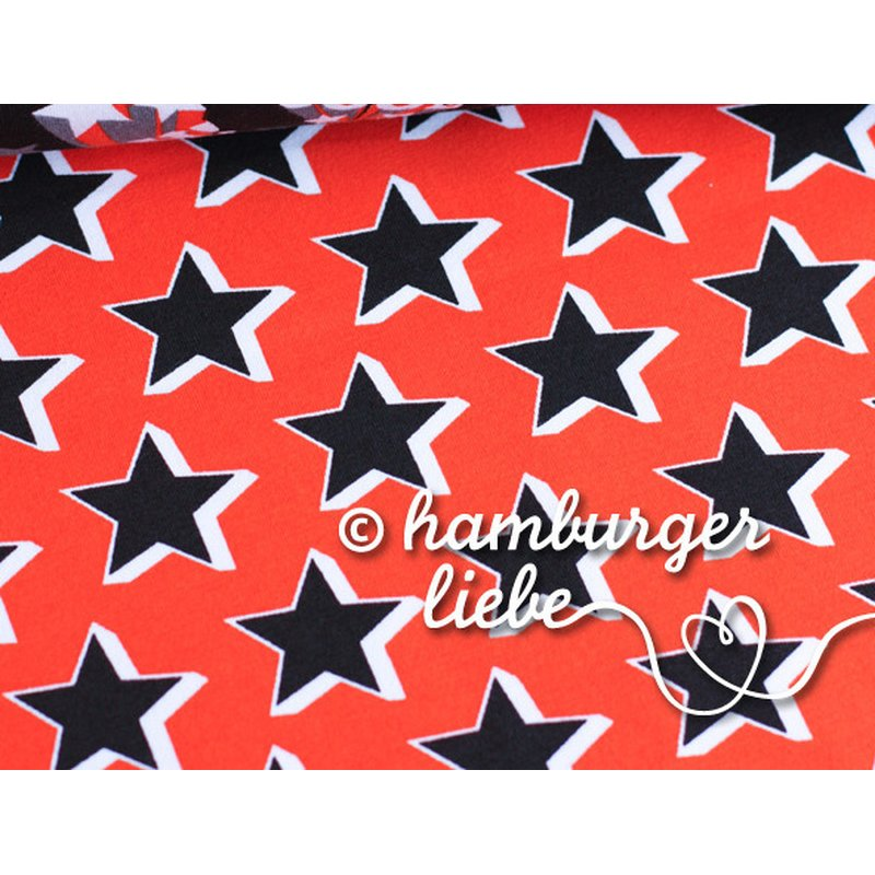 Cool Stars - ROT / SCHWARZ - Stretchjersey