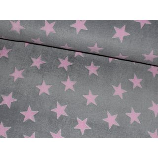 Wellness Fleece FLUFFY STARS - HELLGRAU / rosa