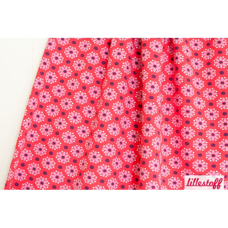 REST 0,32m - lillestoff - Bio Jersey Dottie Flowers RED