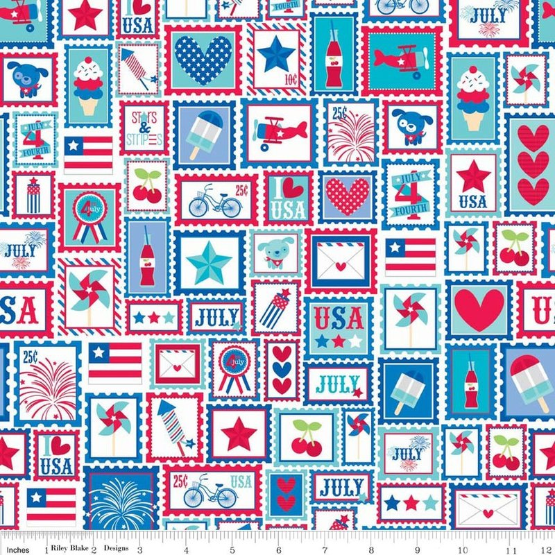 Star Spangled - Briefmarken rot - Riley Blake