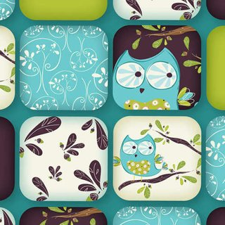 Whoo´s Cute Cotton - Collage TÜRKIS - US Design