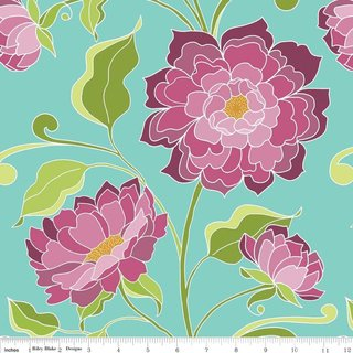 HALLE ROSE - Blumen Main TEAL - Riley Blake