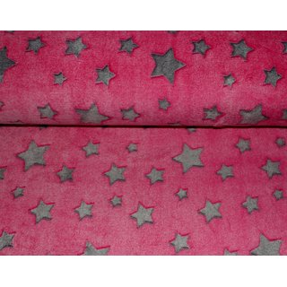 Wellness Fleece STARS - PINK / grau Sterne