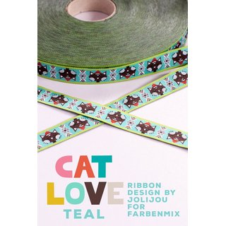 Webband - CAT LOVE teal - farbenmix