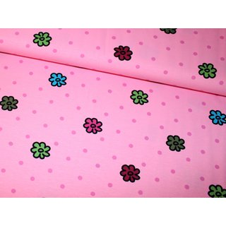 Jersey FAMILY - Flowers & Dots - rosa